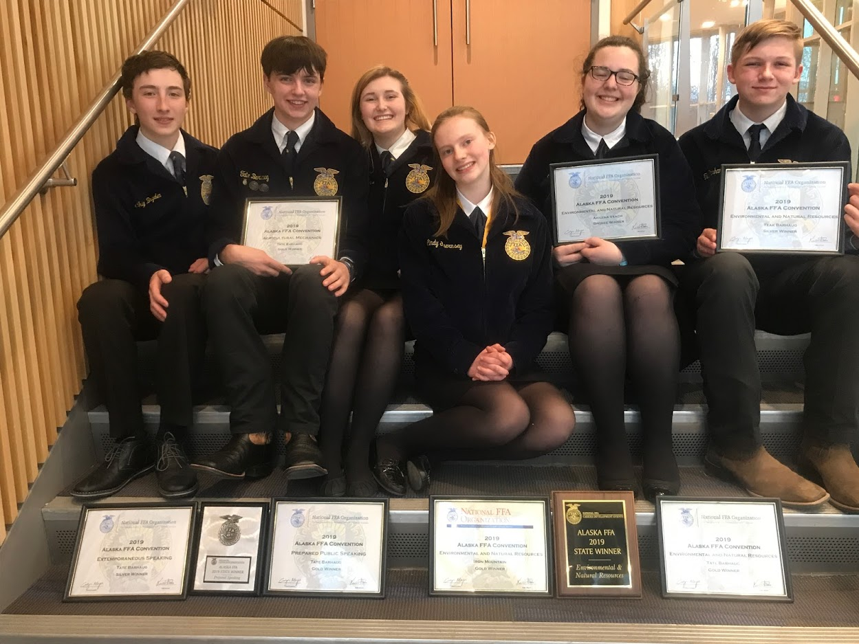 FFA team at state. Left to right: Cody Bryden, Tate Barhaug, Lincoln Farris, Lindy Guernsey, Akilena Veach, and Teak Barhaug.