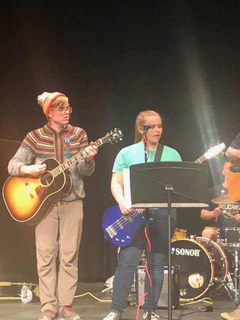 Karl on guitar and Hailey on bass.